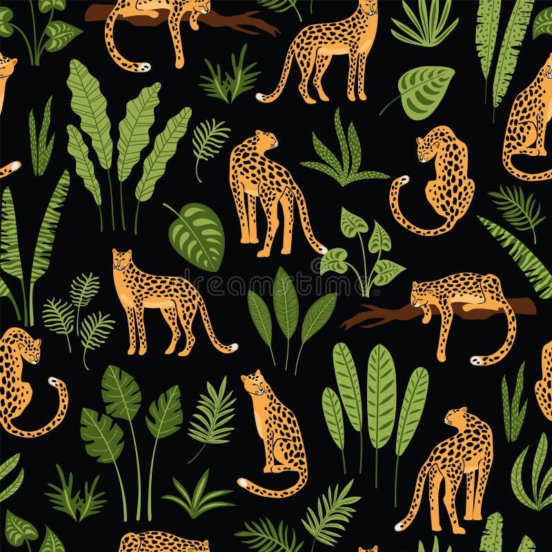 Vestor naadloos patroon met luipaarden en tropische bladeren stock illustratie