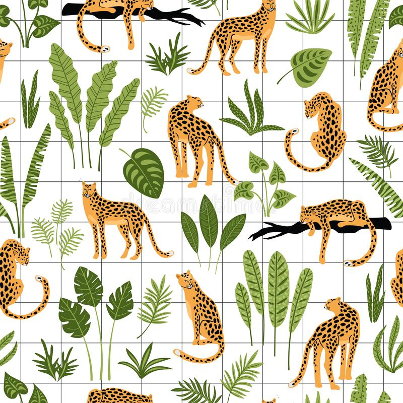 Vestor seamless pattern with leopards and tropical leaves. royalty free illustration