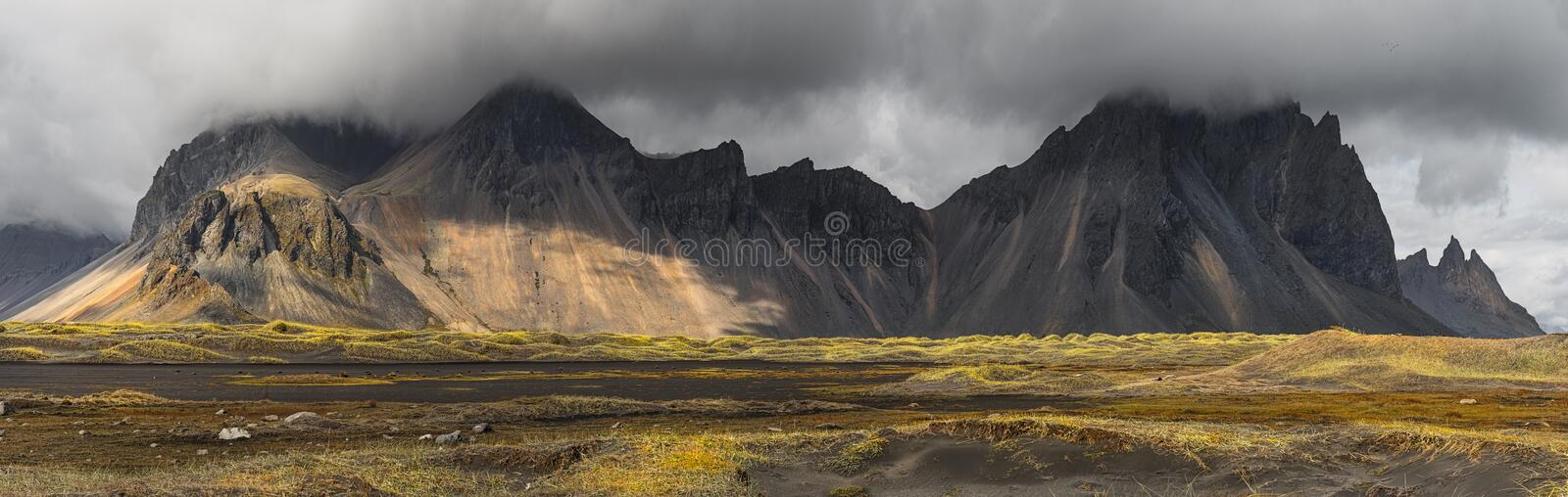 Vestrahorn mountain on Stokksnes cape in Iceland royalty free stock photos