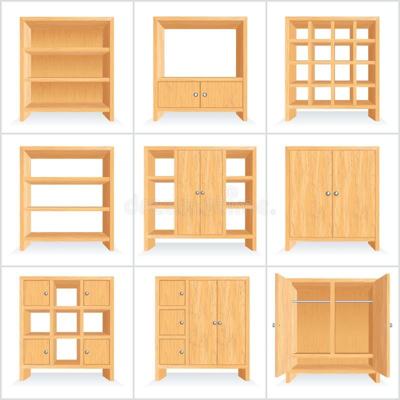 Vestuário de madeira do vetor, armário, estante ilustração royalty free