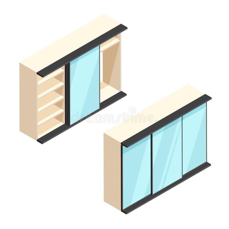 Vestuário incorporado isométrico com ilustração dos espelhos ilustração royalty free