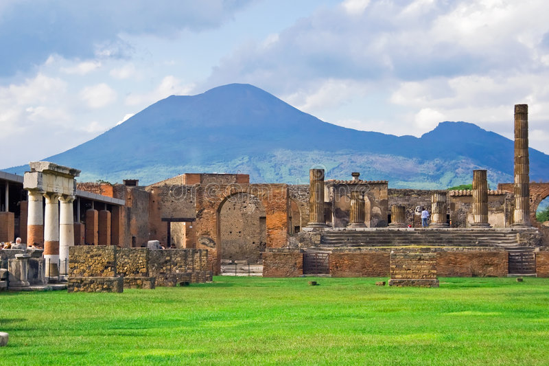 Vesuvius and Pompeii. Ancient ruins of Pompeii and volcano Vesuvius, Italy stock photos
