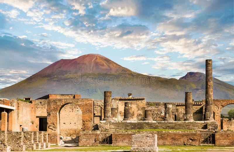 Vesuvius and Pompeii. Ancient walls in Pompeii with volcano Vesuvius in the background stock images