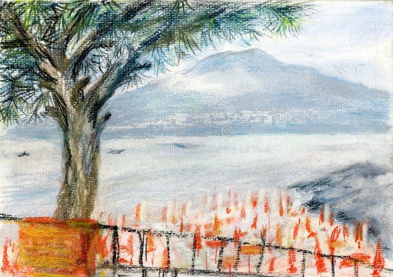 Download Vesuvius view stock illustration. Illustration of fishing - 23887447
