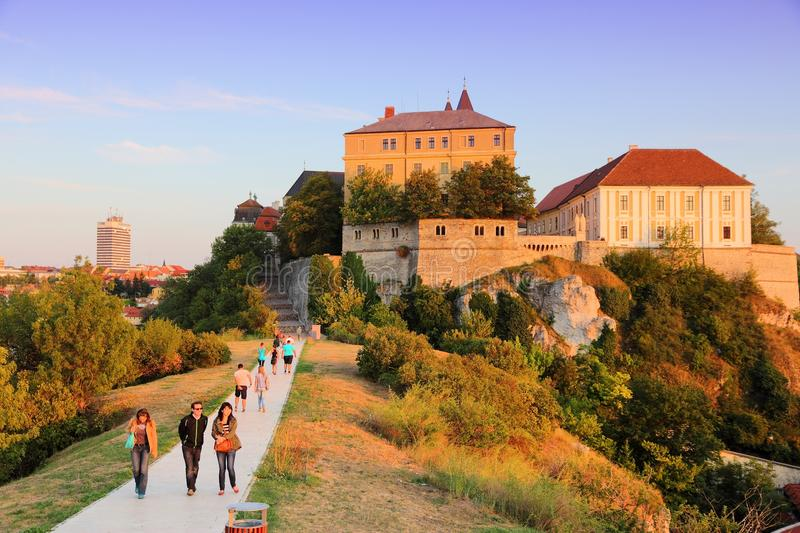 Veszprem, Hungary. AUGUST 10, 2012: People visit . Veszprem is the 16th most populous town in Hungary 60,788 people and one of the oldest royalty free stock photos