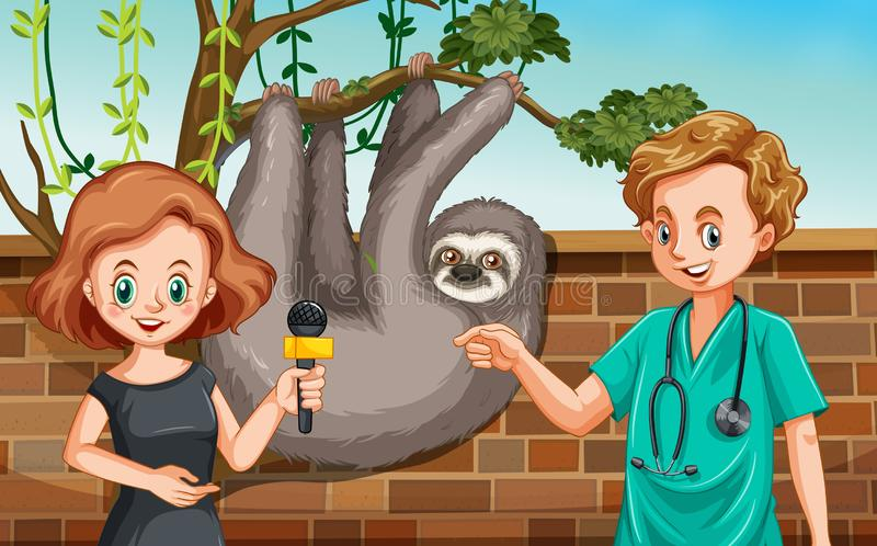 Vet being interview at zoo stock illustration