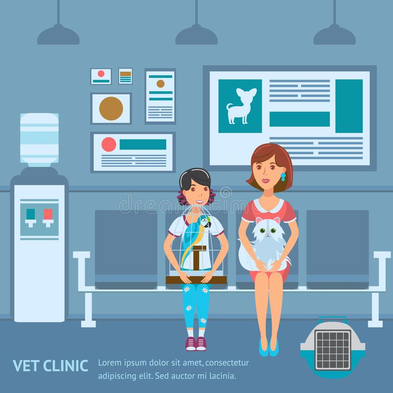 Vet Clinic Queue Web Banner Vector Color Template stock illustration