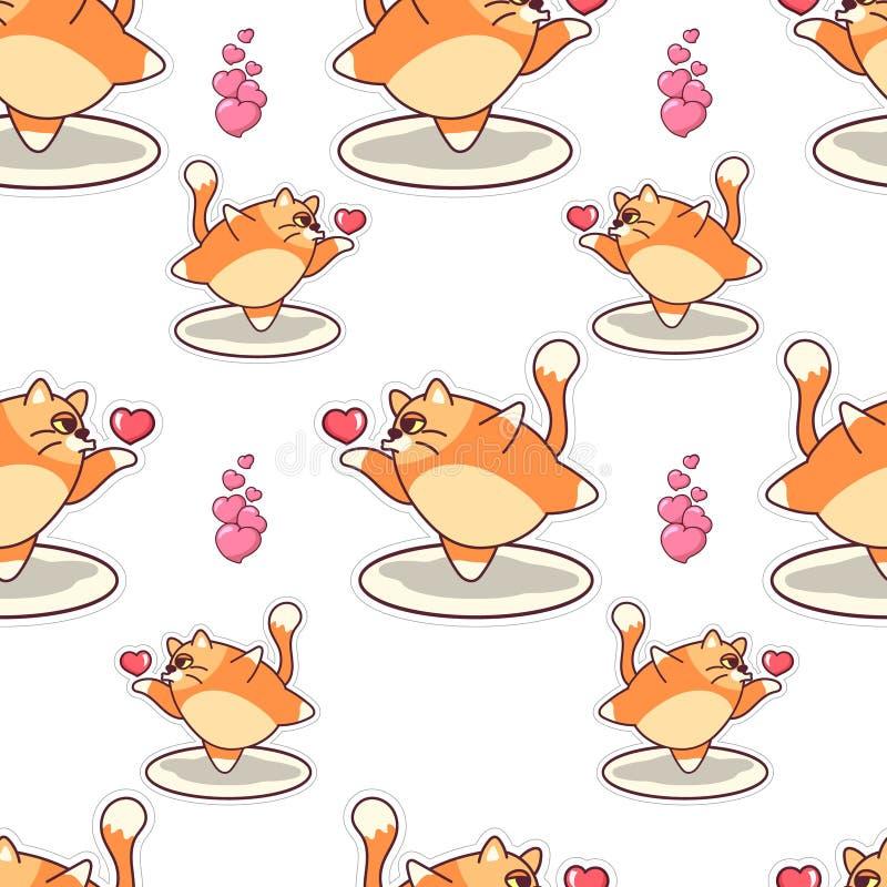 Vet de kus naadloos patroon van de katten blazend lucht De dag vectorontwerp van Valentine ` s vector illustratie
