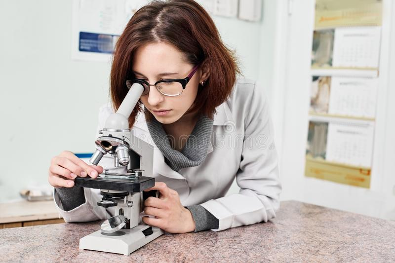 Vet doctor with microscope. Vet doctor finding pet virus and looking into microscope stock image
