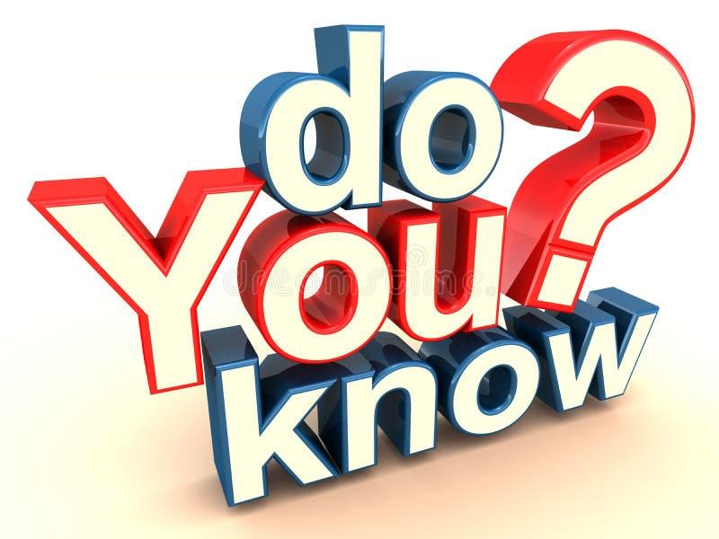 Vet du? vektor illustrationer