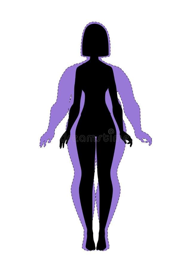 Vet en slank meisje De geschiktheid van het gewichtsverlies stock illustratie