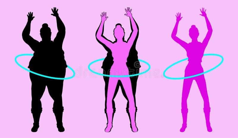 Vet en Slank Vrouwensilhouet die met Hula-Hoepel uitoefenen vector illustratie