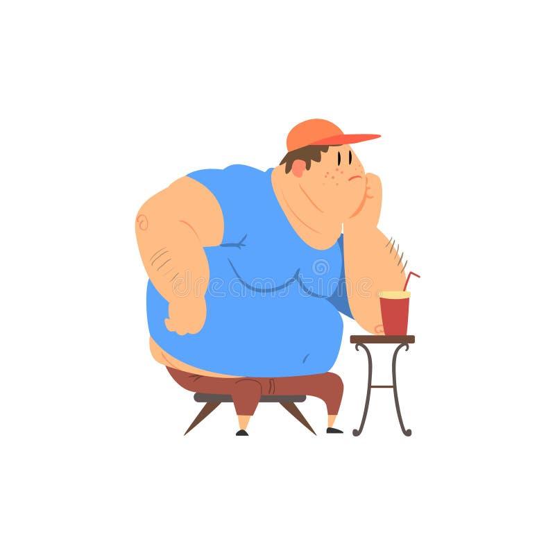 Vet Guy Sitting bij de Koffietafel vector illustratie