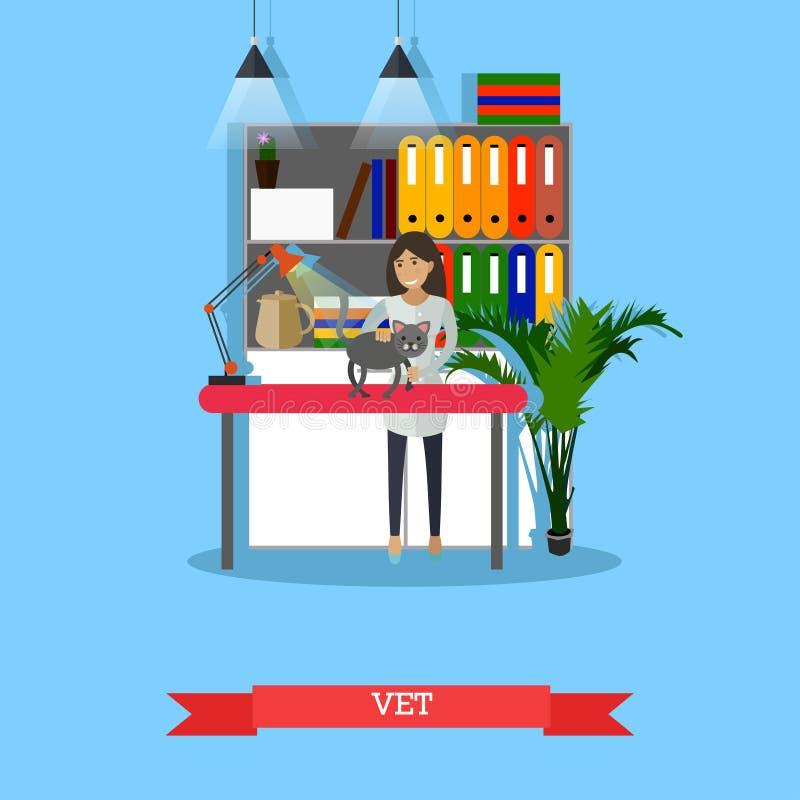 Vet, Medical profession concept vector illustration, flat design. Vector illustration of vet woman inspecting cats injured paw. Vet, veterinary surgeon stock illustration