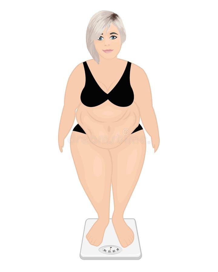 Vet meisje op een gewichtsmachine De controleconcept van het gewicht Te zwaar vector illustratie