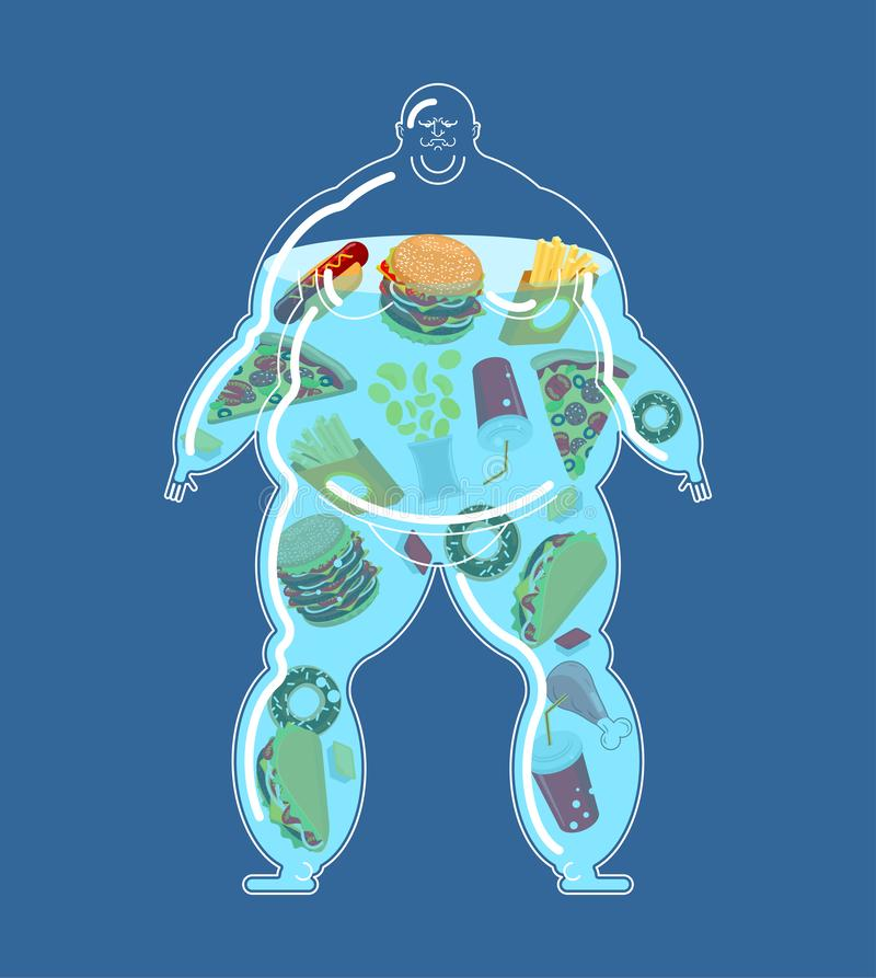 Vet mensen volledig snel voedsel Dik voedsel binnen royalty-vrije illustratie