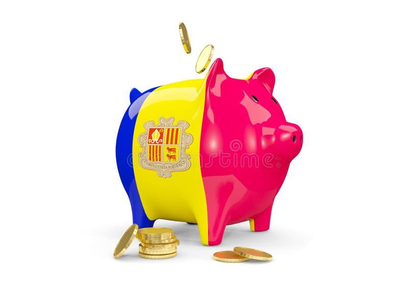 Vet spaarvarken met vlag van Andorra vector illustratie