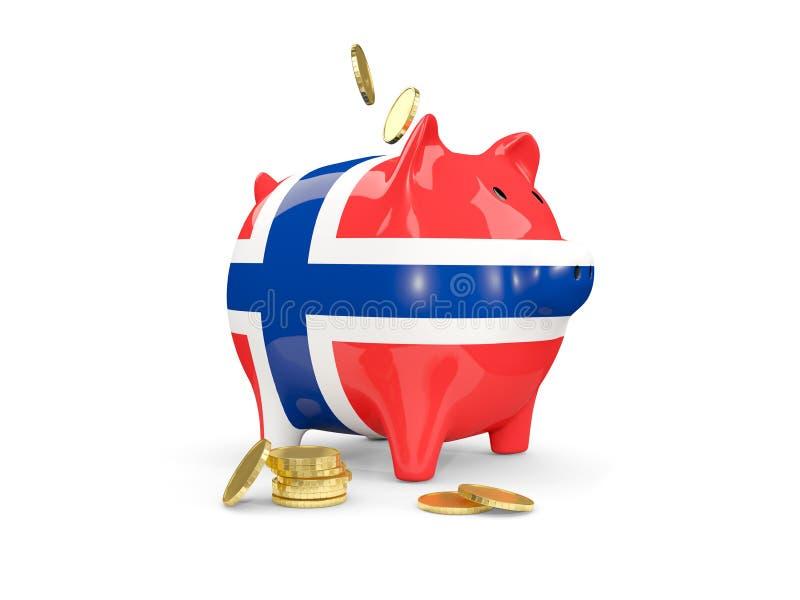 Vet spaarvarken met vlag van Noorwegen vector illustratie