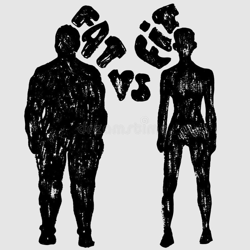 Vet versus Geschikt vectorvrouwensilhouet Een slanke en vette vrouw, vectortextuurillustratie royalty-vrije illustratie