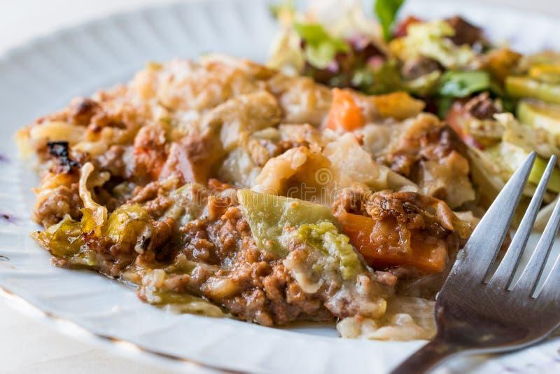 Vetegablesgratin met Gehakt, Kaas en gediend met Salade royalty-vrije stock fotografie