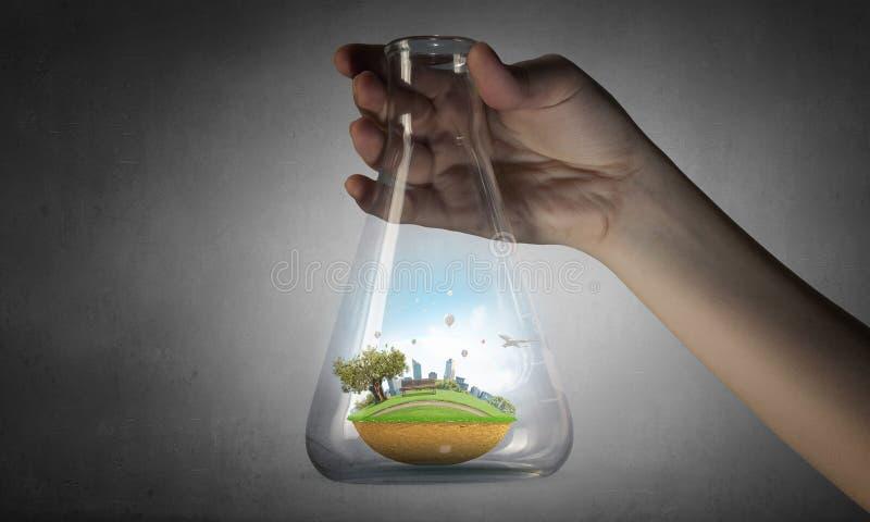 Vetenskap för grönt sunt liv Blandat massmedia arkivbild