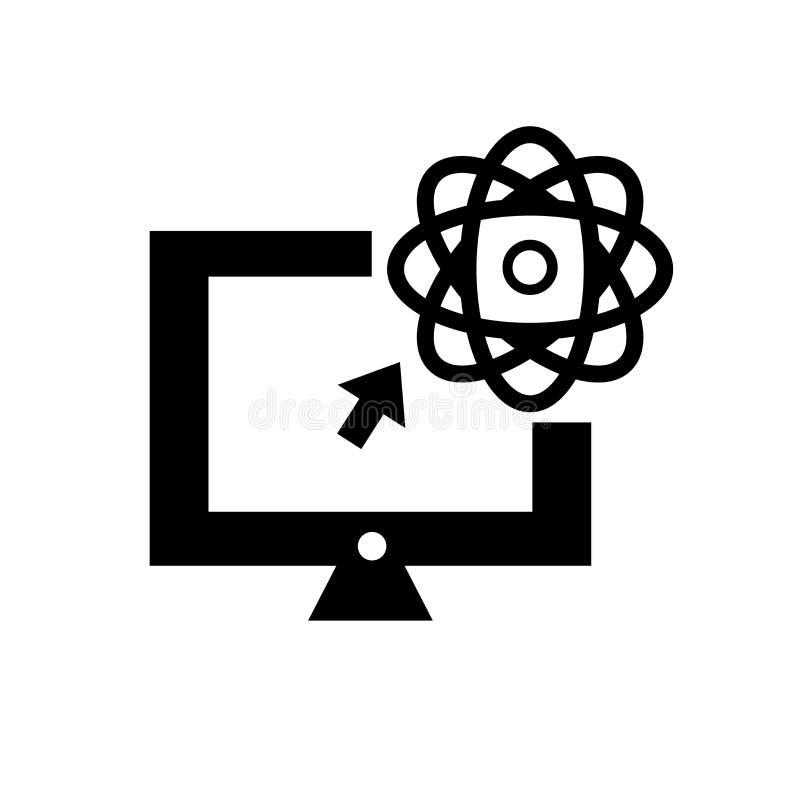 Vetenskap i ett tecken och ett symbol för bärbar datorsymbolsvektor som isoleras på vit bakgrund, vetenskap i ett bärbar datorlog royaltyfri illustrationer