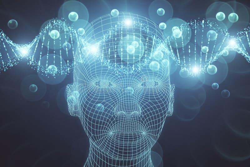 Vetenskap, konstgjord intelligens och innovationbakgrund royaltyfri illustrationer