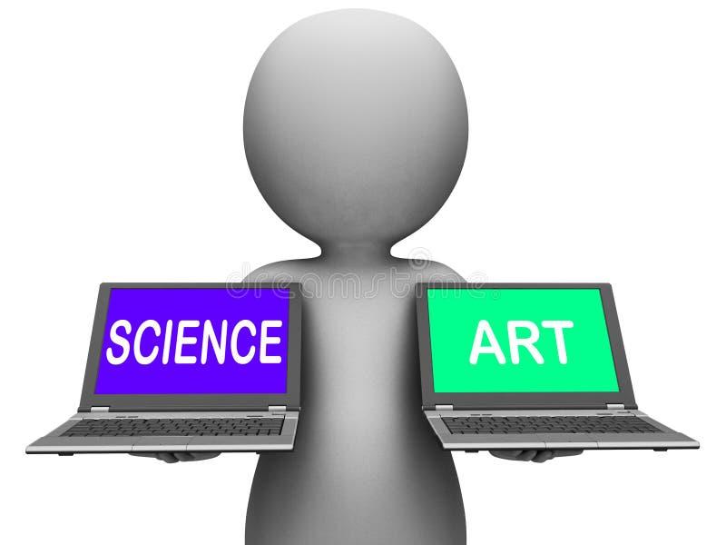 Vetenskap konstnärliga Art Laptops Shows Scientific Or vektor illustrationer