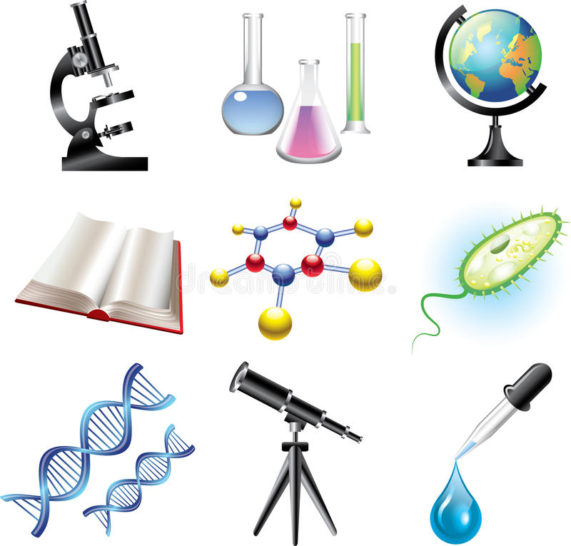 Vetenskap och сhemistry uppsättning stock illustrationer