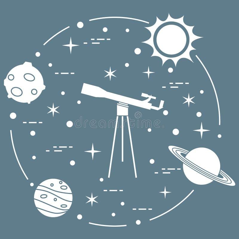 Vetenskap: teleskop sol, måne, planeter, stjärnor vektor illustrationer