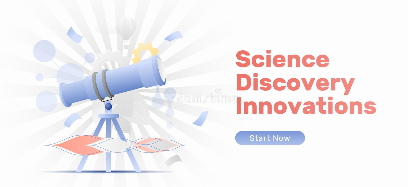 Vetenskap upptäckt, innovationbaner vektor illustrationer