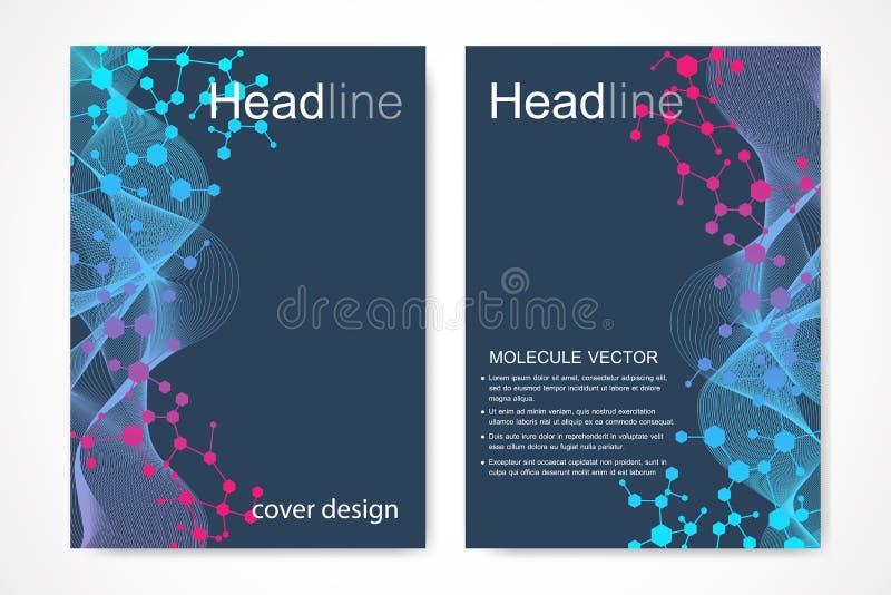 Vetenskaplig broschyrdesignmall Vektorreklambladorientering, molekylär struktur med förbindelselinjer och prickar vetenskapligt stock illustrationer
