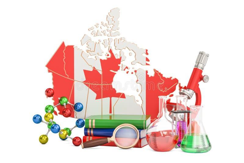 Vetenskaplig forskning i det Kanada begreppet, tolkning 3D royaltyfri illustrationer