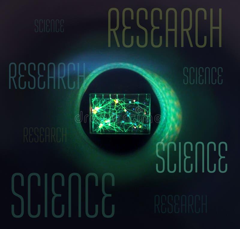 Vetenskaplig futuristisk mörk bakgrund med färglutningar, exponeringsglas i ett runt öga under ett mikroskop och text arkivfoto