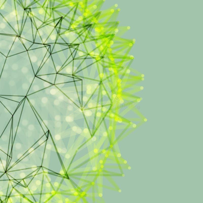 Vetenskaplig illustration med förbindelselinjer och prickar Lysande mikroskopiska former Glödande raster vektor illustrationer