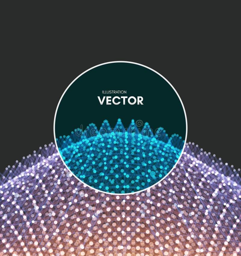 Vetenskaplig illustration med förbindelselinjer och prickar Lysande mikroskopiska former Glödande raster Anslutningsstruktur stock illustrationer