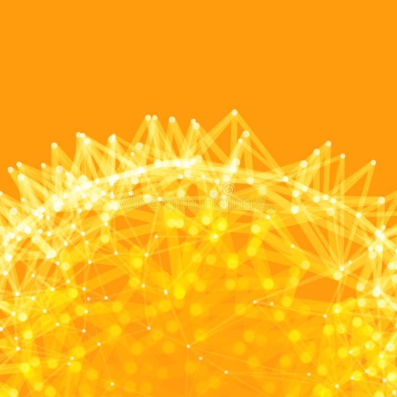 Vetenskaplig illustration med f?rbindelselinjer och prickar Lysande mikroskopiska former Gl?dande raster Anslutningsstruktur Wire stock illustrationer