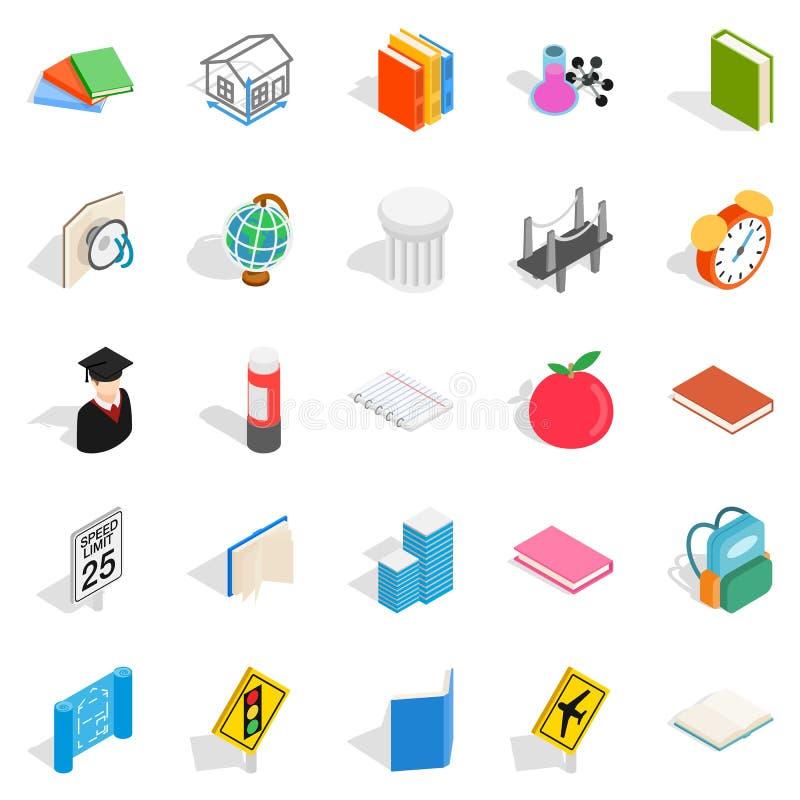 Vetenskaplig inställningssymbolsuppsättning, isometrisk stil stock illustrationer