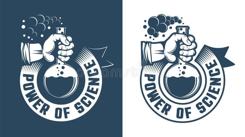 Vetenskaplig logo - hand som rymmer en flaska royaltyfri illustrationer