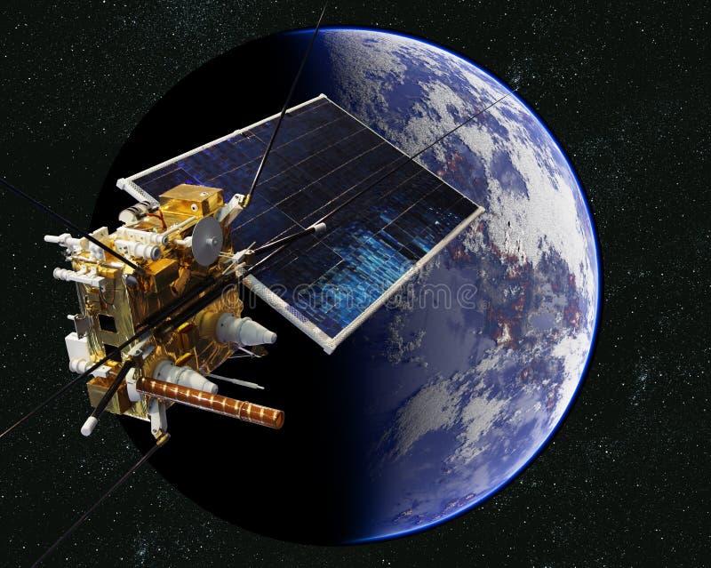 Vetenskaplig satellit för modernt väder på jordens omloppsbanan stock illustrationer