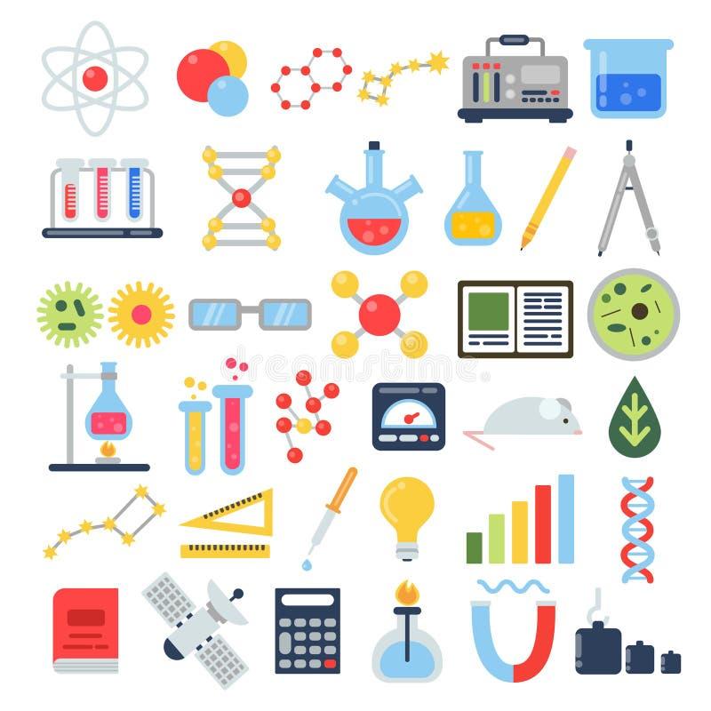 Vetenskaplig utrustning för kemisk provning Uppsättning för vetenskapsvektorsymbol stock illustrationer