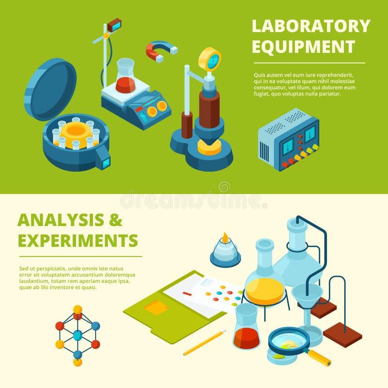 Vetenskapliga baner Läkarundersökning eller kemiskt experimentlaboratoriumrum och isometriska bilder för utrustningvektor royaltyfri illustrationer