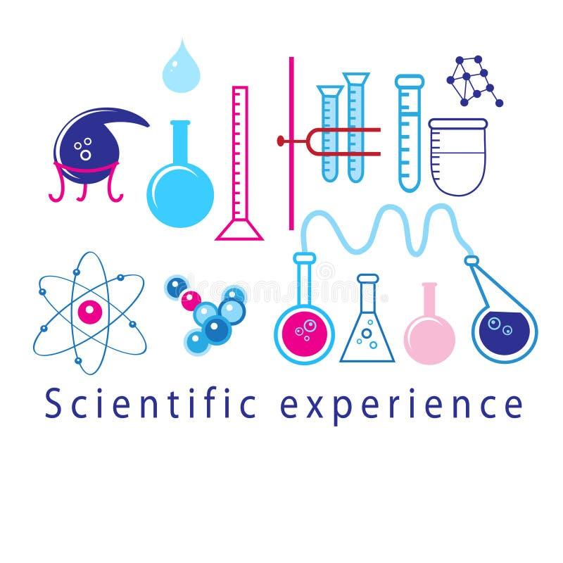 Vetenskapliga experiment i provrör royaltyfri illustrationer