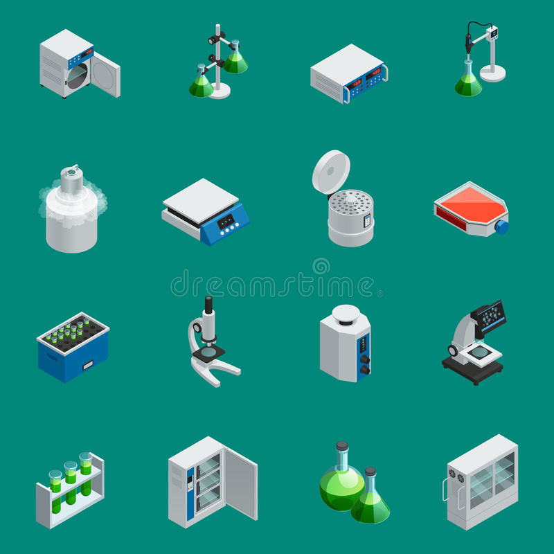 Vetenskapliga isometriska symboler för laboratoriumutrustning stock illustrationer