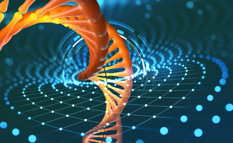 Vetenskapligt begrepp för genteknik Innovativa teknologier i forskning av den mänskliga genom Konstgjord intelligens i medicinen  vektor illustrationer