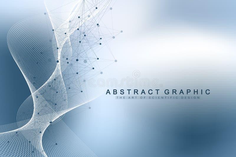 Vetenskapligt begrepp för vektorillustrationgenteknik och genbehandligs DNAspiral, DNAtråd, molekyl eller royaltyfri illustrationer
