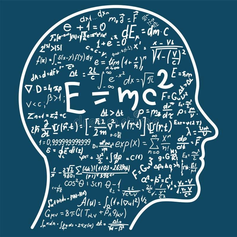 Vetenskapligt tänka Översikt av head fyllnads- matematik- och fysikformler Kan illustrera ämnen släkta vetenskap vektor illustrationer