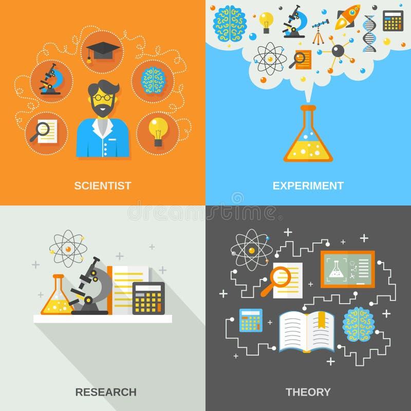 Vetenskaps- och forskninglägenhet royaltyfri illustrationer