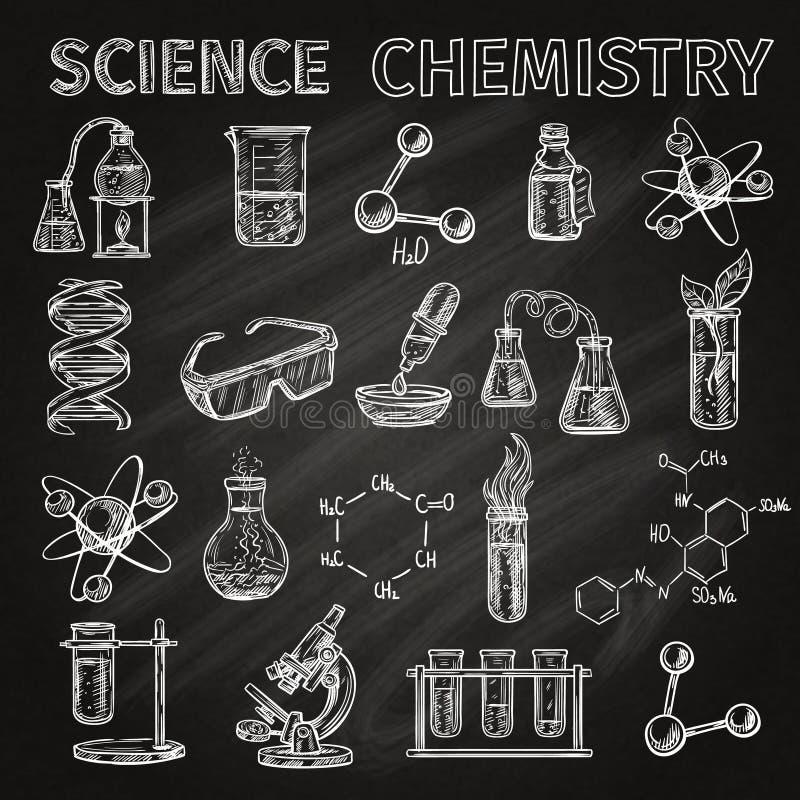 Vetenskaps- och kemisymbolsuppsättning stock illustrationer