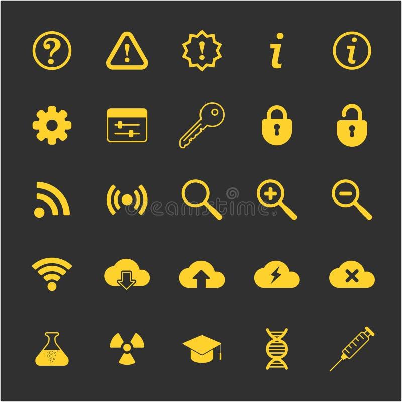 Vetenskaps- och techsymboler ställde in för rengöringsduk och mobil royaltyfria foton